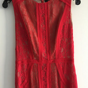 BCBG MaxAzria Red Lace Formal Sheath Dress